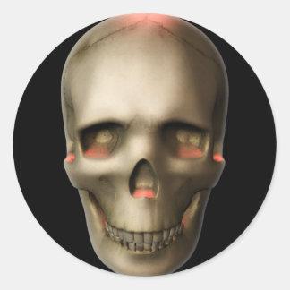KRW Glowing Skull Halloween Classic Round Sticker