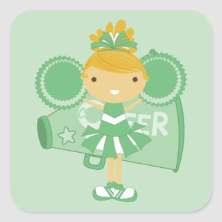 KRW Green Cheerleader Sticker Favor