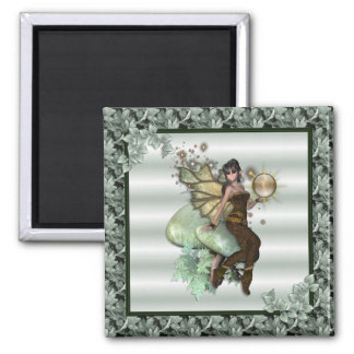 KRW Green Leaf Faery Square Magnet