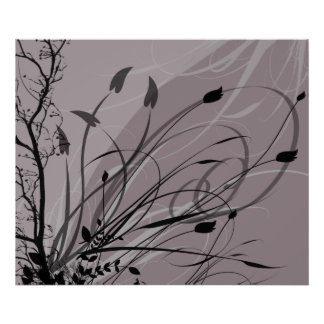 KRW Grunge Floral in Misty Lavender Poster