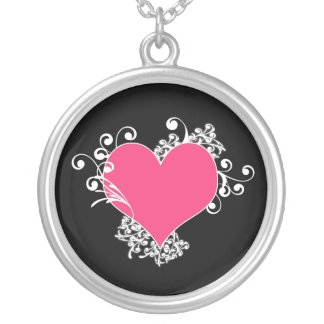 KRW Heart and Swirls Pink and Black Keepsake Round Pendant Necklace