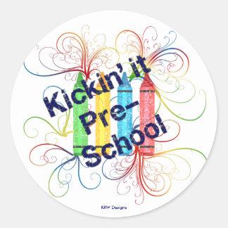 KRW Kickin' It Pre-School Crayons Grunge Round Sticker