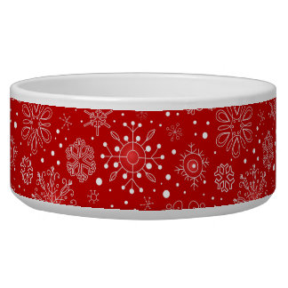 KRW Lacy White Snowflakes Christmas Red Pet Bowl
