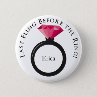 KRW Last Fling Before the Ring Pink Black Name 2 Inch Round Button