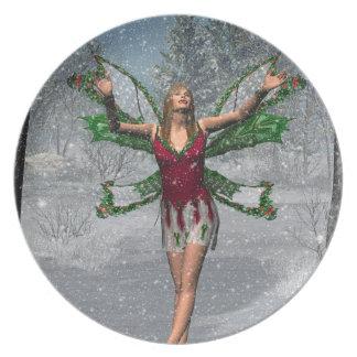 KRW Let It Snow Winter Faerie Fantasy Plate