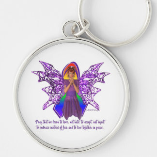 KRW LGBT Acceptance Red Head Faery Silver-Colored Round Keychain