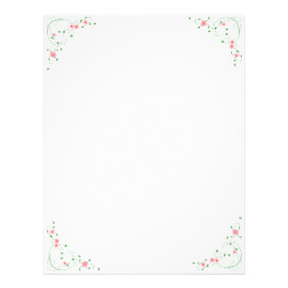 KRW Lovely Pink Floral Corner Design Letterhead