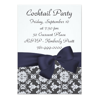 KRW Navy Blue Damask Cocktail Party Invitation