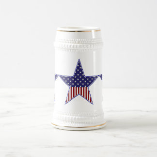 KRW Patriotic Flag Star Beer Stein