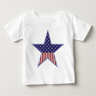 KRW Patriotic USA Flag Star Baby T-Shirt