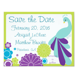 """KRW Peacock Floral Custom Save the Date 4.25"""" X 5.5"""" Invitation Card"""