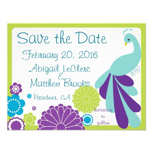 KRW Peacock Floral Custom Save the Date Personalized Invitation