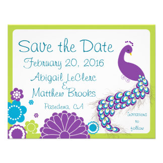 KRW Peacock Floral Custom Save the Date Invites