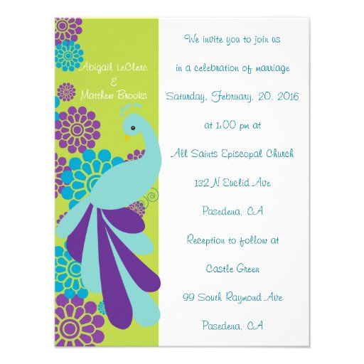 KRW Peacock Floral Custom Wedding Invitation