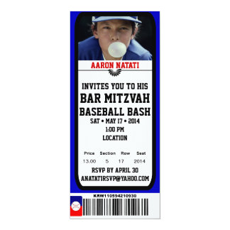 KRW Photo Baseball Bar Mitzvah Ticket Invitation