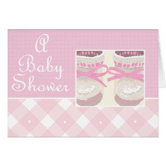 KRW Pink Booties Custom Baby Shower Invitation Note Card