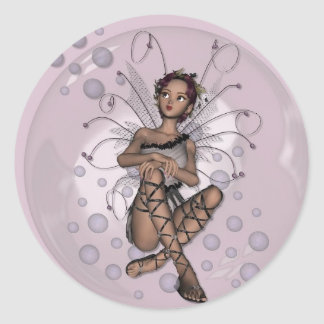 KRW Pink Bubble Fairy Classic Round Sticker
