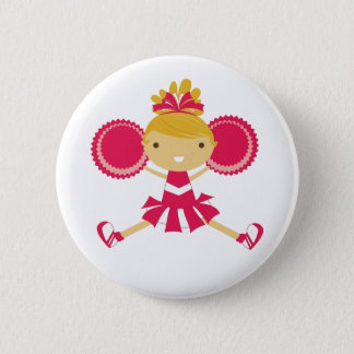 KRW Pink Cheerleader Birthday Party Button