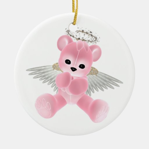 KRW Pink Guardian Angel Bear Ornament