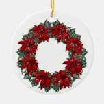 KRW Poinsettia Wreath Christmas Ornament