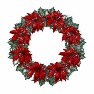 KRW Pointsettia Holiday Wreath Ornament Photo Sculpture Ornament