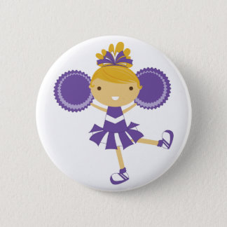 KRW Purple Cheerleader Birthday Party Button