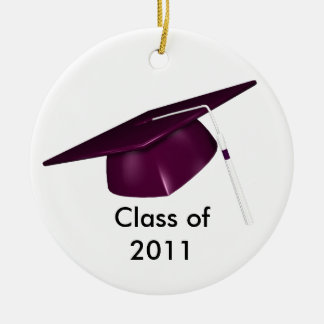KRW Purple Graduation Cap Custom Date Ornament