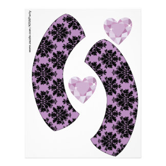 KRW Purple Jewel Heart Birthday Cupcake Wrappers Letterhead Template