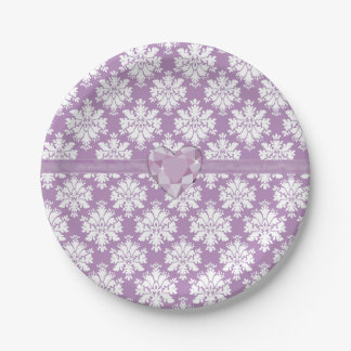 KRW Purple Jewel Heart Paper Plate