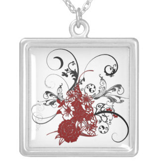 KRW Red Floral Grunge Sterling Silver Necklace