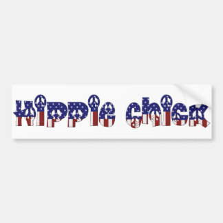 KRW Retro Hippie Chick Peace Sign Bumper Sticker