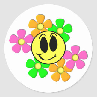 KRW Retro Smilie Face and Neon Flowers Classic Round Sticker