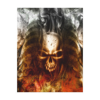 KRW Smoldering Skull Wrapped Canvas Art