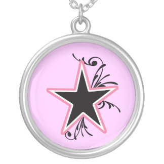 KRW Star and Swirls Pink and Black Keepsake Round Pendant Necklace