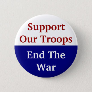 KRW Support Our Troops End The War 2 Inch Round Button
