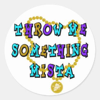 KRW Throw Me Something Mista Mardi Gras Round Sticker