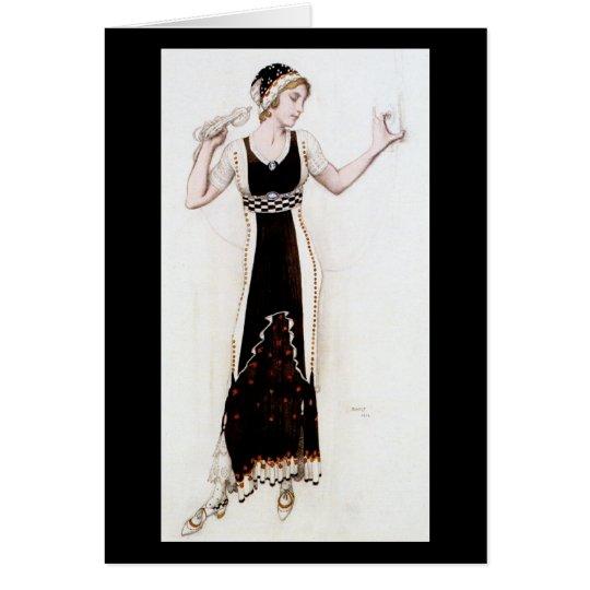 KRW Vintage Bakst 1912 Fashion Print Blank Card