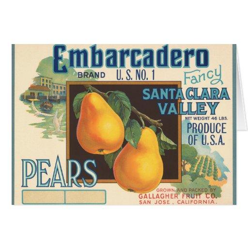 KRW Vintage Embarcadero Pears Crate Label Greeting Card
