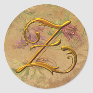 KRW Vintage Floral Gold Z Monogram Wedding Seal Round Sticker