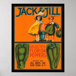 KRW Vintage Jack & Jill Peppers Crate Label Poster