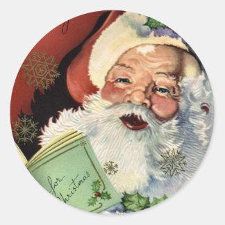 KRW Vintage Santa Claus Christmas Classic Round Sticker