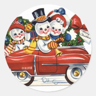 KRW Vintage Snowmen Car Holiday Sticker