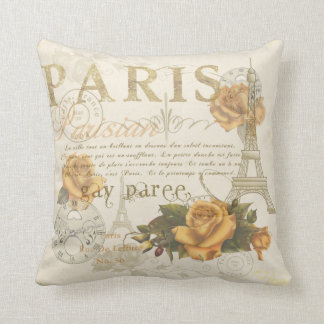 KRW Vintage Style Paris Roses and Eiffel Tower Throw Pillow