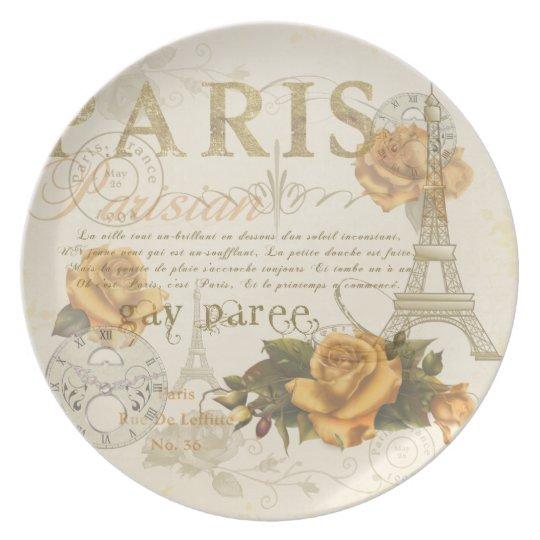 KRW Vintage Style Paris Roses Eiffel Tower Plate