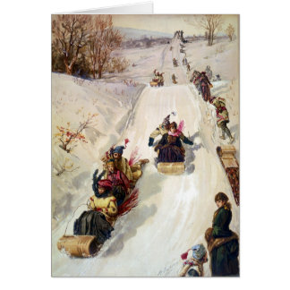 KRW Vintage Tobogganing 1886 Holiday Card
