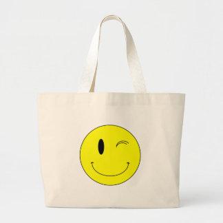 KRW Yellow Winking Smiley Face Jumbo Tote Bag