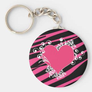 KRW Zebra Heart Swirls Pink and Black Name Keyring