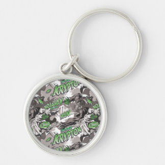 Krypton Green and Grey Silver-Colored Round Keychain