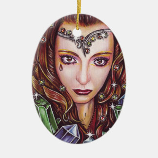 Krystalline Ceramic Oval Ornament