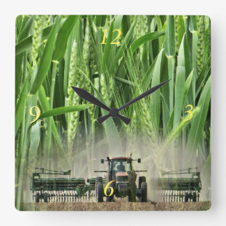 Ks Wheat drilling clock- customize Square Wall Clock